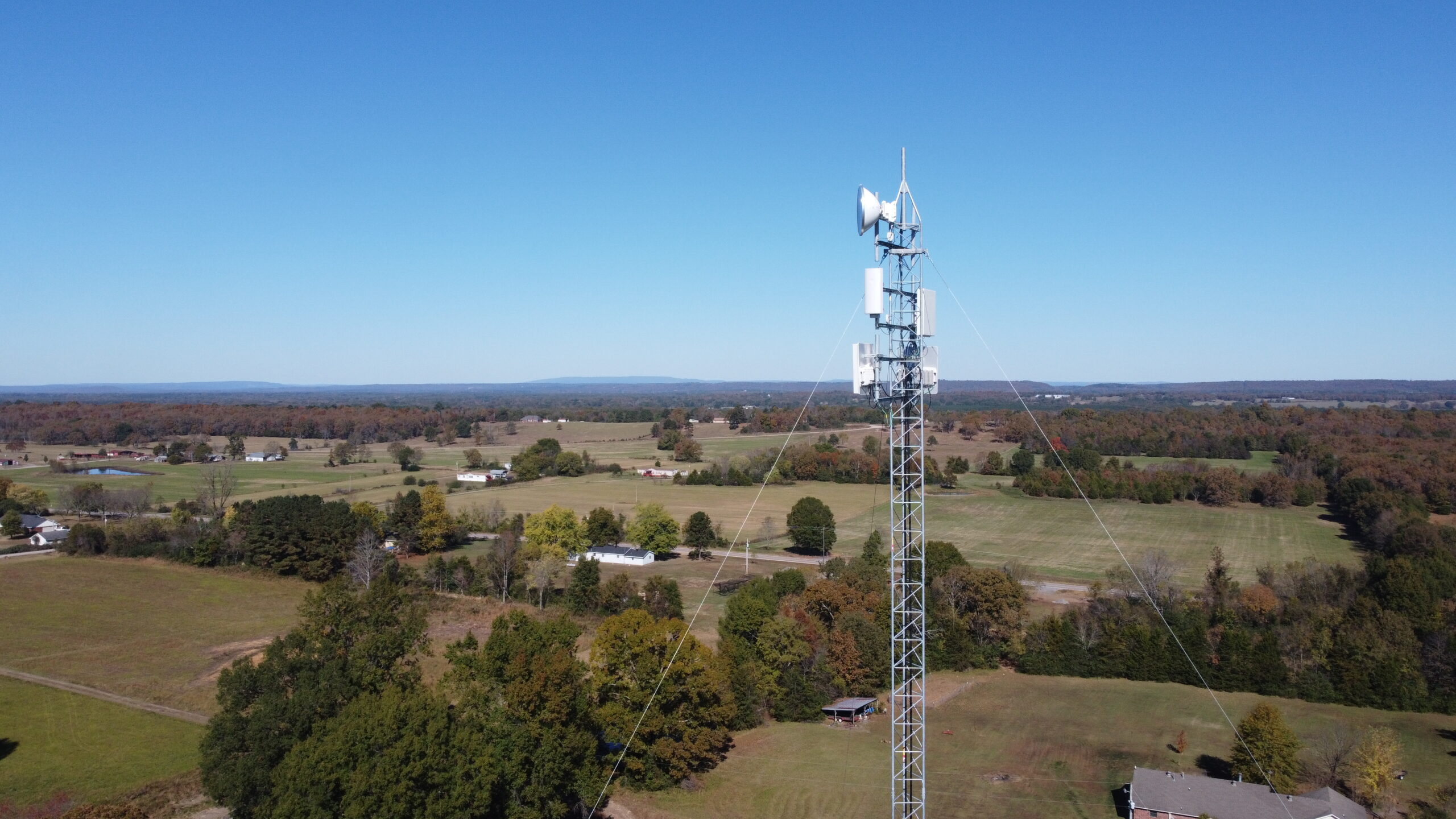wifi tower overlooking the countryside